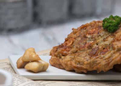 bramborak s kuřecím masem