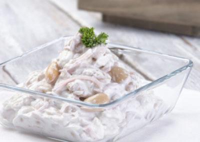 salát křenové fazole se šunkou